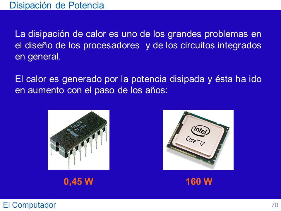 Disipación de Potencia El Computador La disipación de calor es uno de los grandes problemas en el diseño de los procesadores y de los circuitos integr