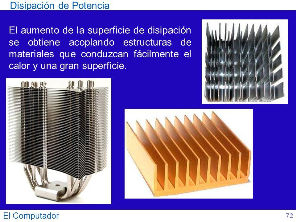 El Computador El aumento de la superficie de disipación se obtiene acoplando estructuras de materiales que conduzcan fácilmente el calor y una gran su