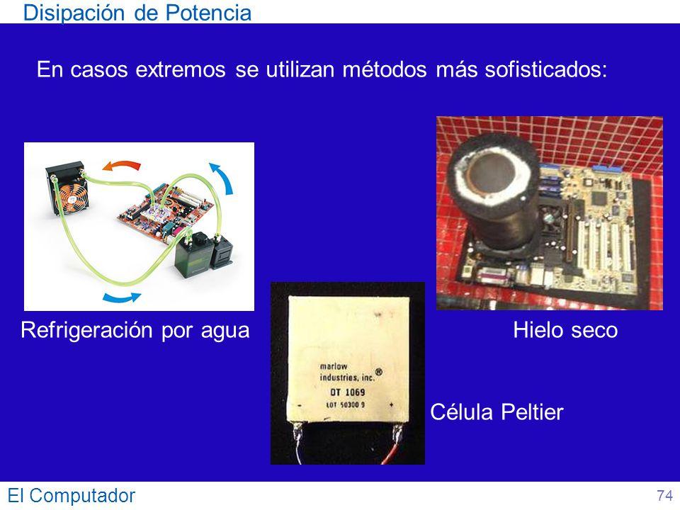 El Computador En casos extremos se utilizan métodos más sofisticados: Disipación de Potencia Refrigeración por agua Célula Peltier Hielo seco 74