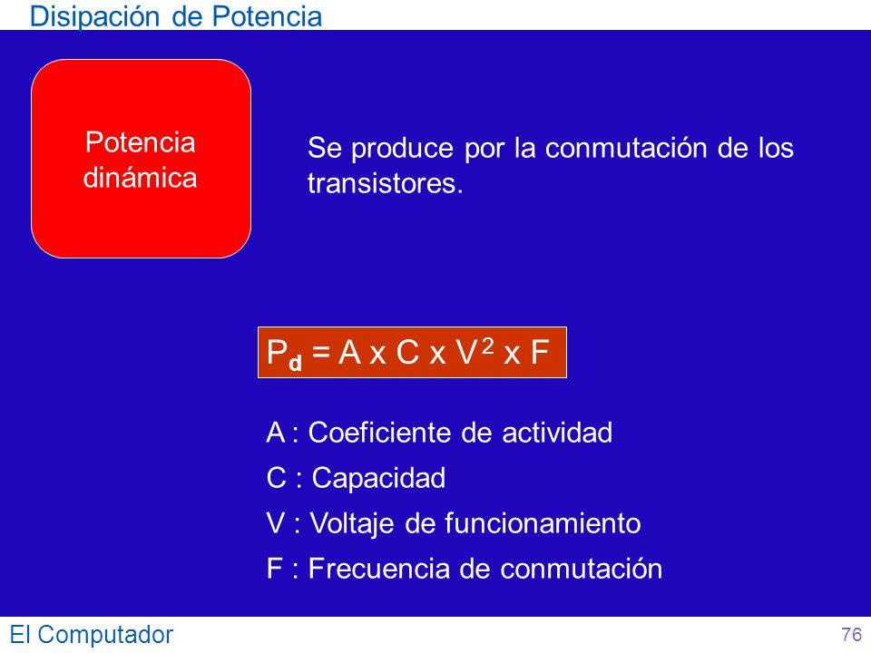El Computador Se produce por la conmutación de los transistores. P d = A x C x V 2 x F A : Coeficiente de actividad C : Capacidad V : Voltaje de funci