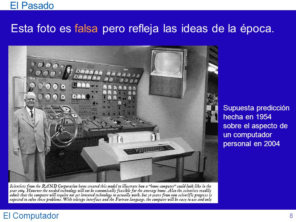 El Computador 9 Where a calculator on the ENIAC is equipped with 18,000 vaccuum tubes and weighs 30 tons, computers in the future may have only 1,000 vaccuum tubes and perhaps weigh 1.5 tons.