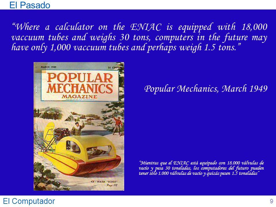 El Computador 40 Arquitecturas CISC (Complex Instruction Set Computer) Máquina convencional Características de las instrucciones: Número elevado Muchos modos de direccionamiento Longitud variable Formato irregular Muchas instrucciones operan con la memoria Estructura Básica