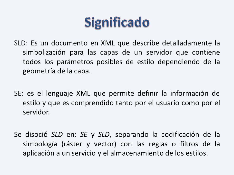 SLD: Es un documento en XML que describe detalladamente la simbolización para las capas de un servidor que contiene todos los parámetros posibles de e