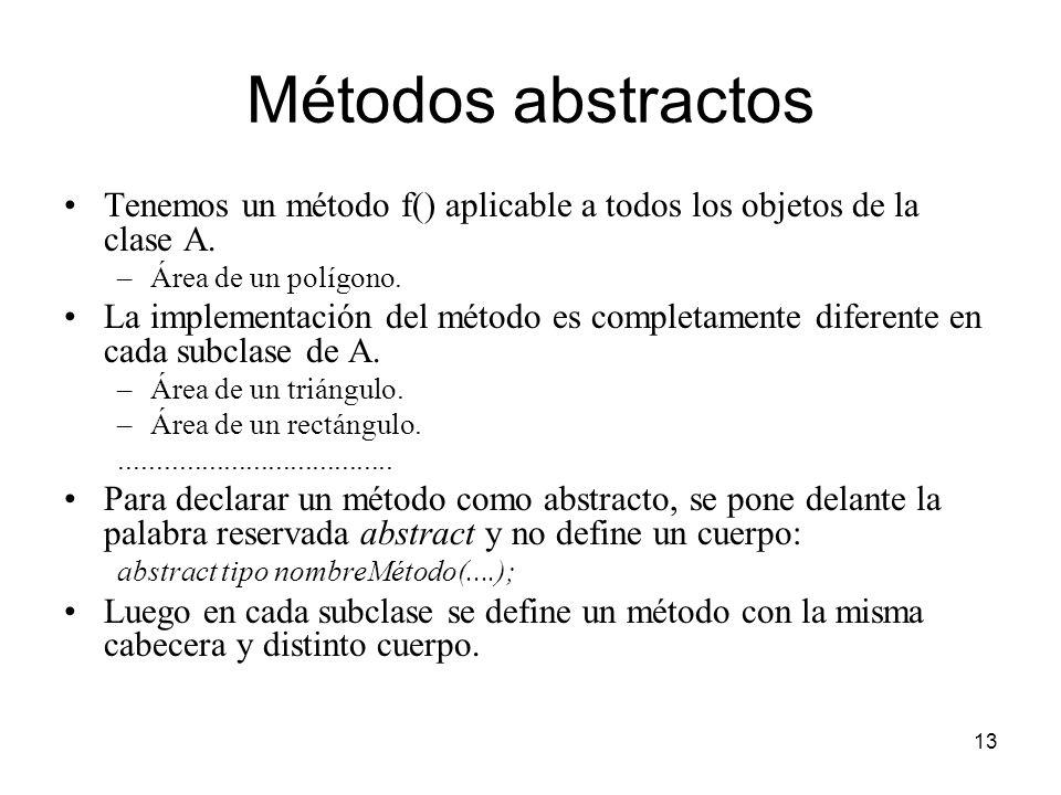 13 Métodos abstractos Tenemos un método f() aplicable a todos los objetos de la clase A. –Área de un polígono. La implementación del método es complet