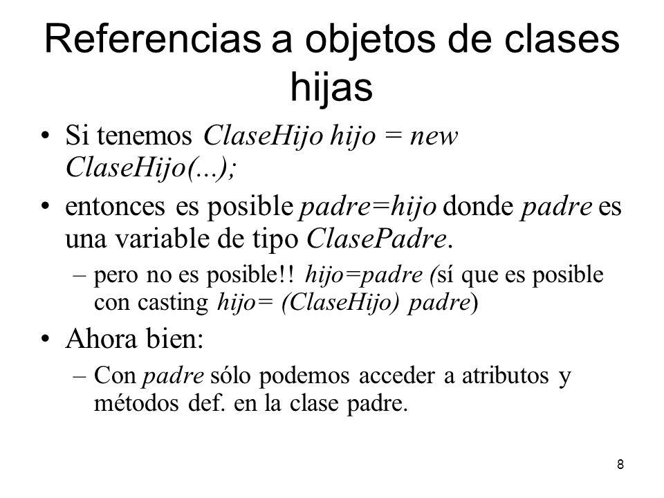 8 Referencias a objetos de clases hijas Si tenemos ClaseHijo hijo = new ClaseHijo(...); entonces es posible padre=hijo donde padre es una variable de