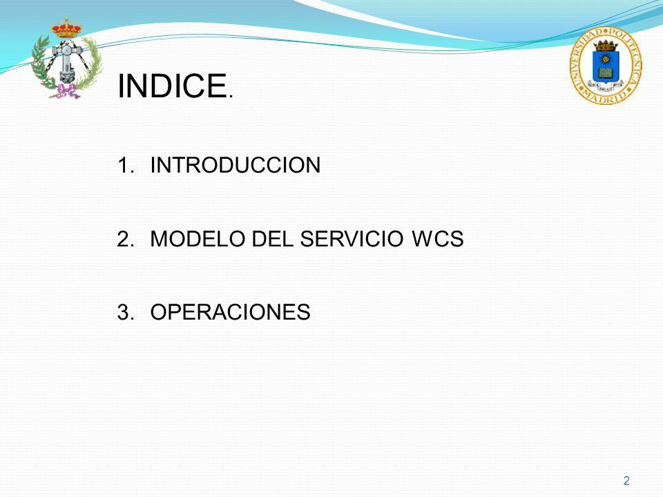 2 INDICE. 1.INTRODUCCION 2.MODELO DEL SERVICIO WCS 3.OPERACIONES