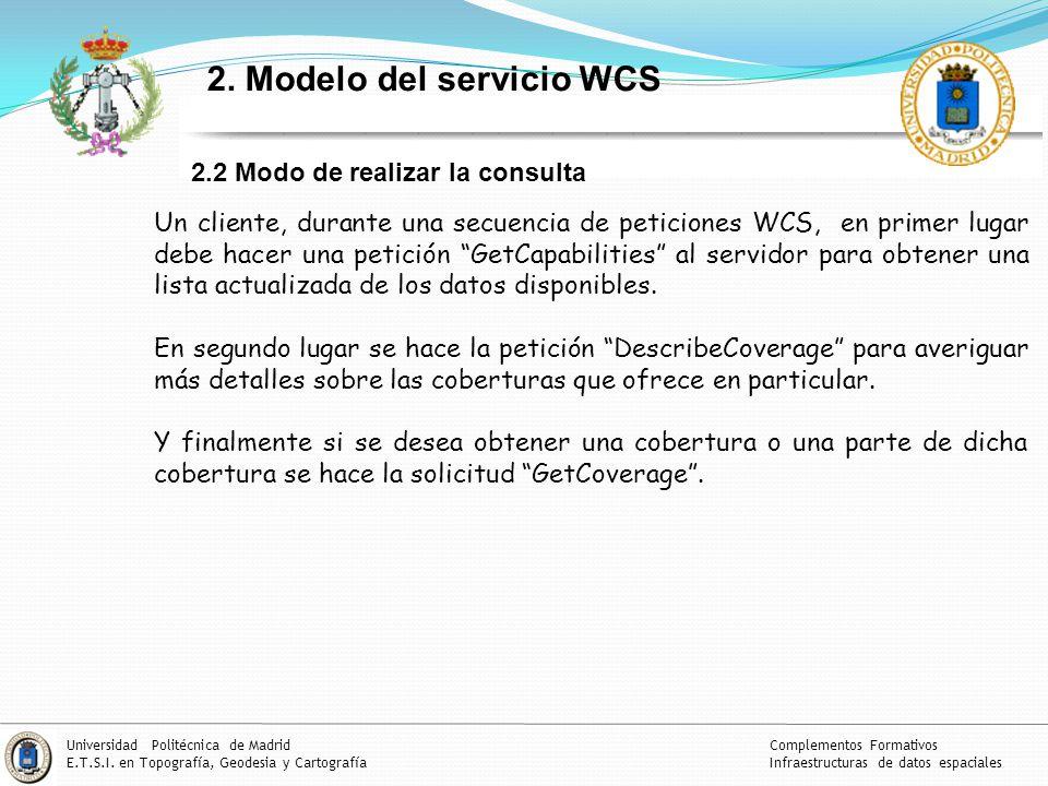 18 Complementos Formativos Infraestructuras de datos espaciales Universidad Politécnica de Madrid E.T.S.I.