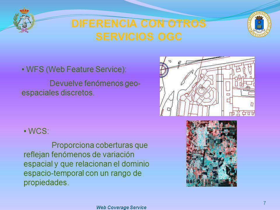 Web Coverage Service 7 DIFERENCIA CON OTROS SERVICIOS OGC WFS (Web Feature Service): Devuelve fenómenos geo- espaciales discretos. WCS: Proporciona co