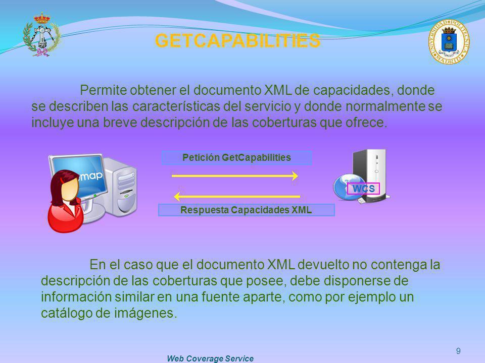 Web Coverage Service 9 GETCAPABILITIES Permite obtener el documento XML de capacidades, donde se describen las características del servicio y donde no