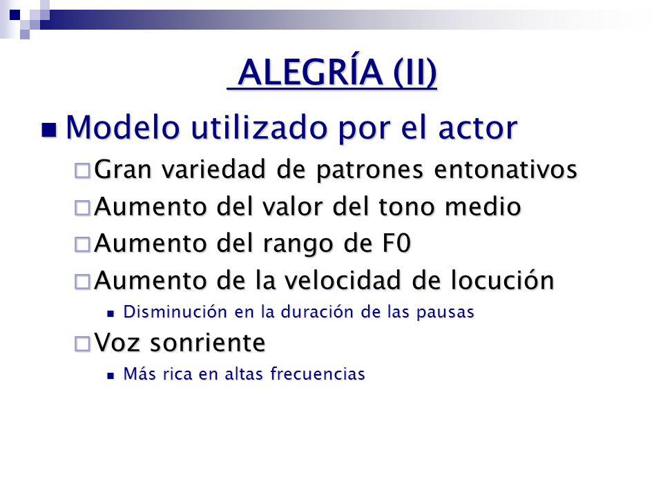 ALEGRÍA (I) VALENCIA ACTIVIDAD PositivoNegativo Pasivo Activo ALEGRÍA SORPRESA ENFADO EN FRÍO NEUTRO TRISTEZA