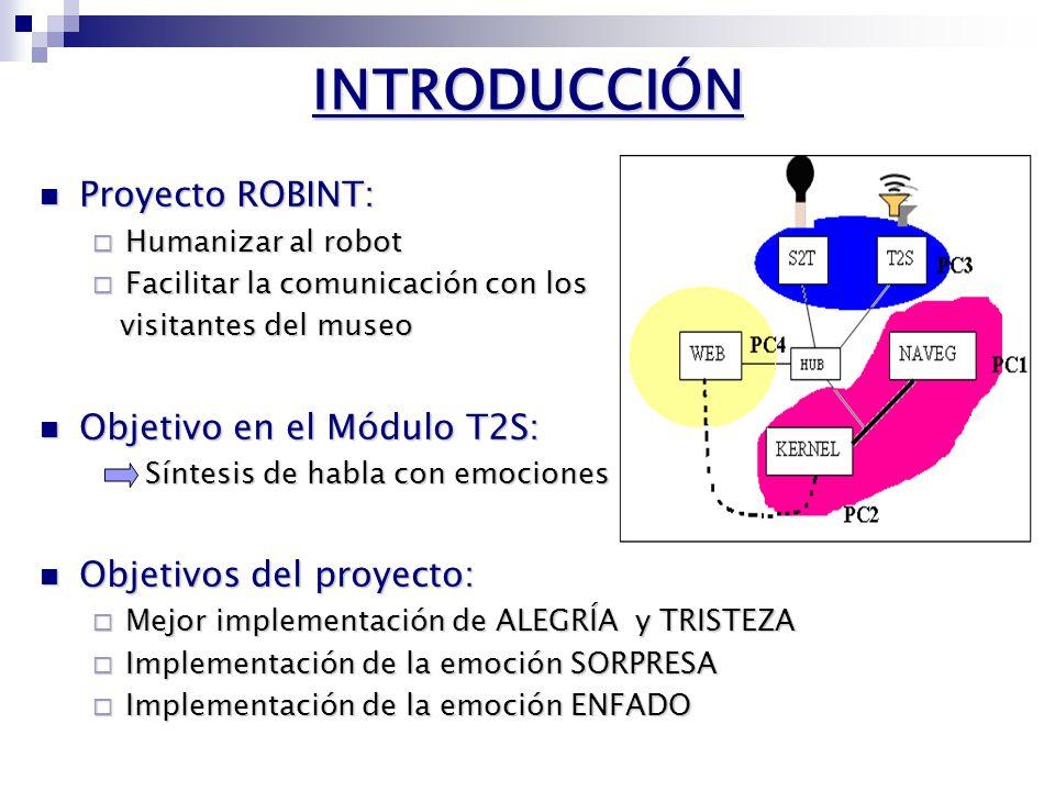 INTRODUCCIÓN Proyecto ROBINT: Proyecto ROBINT: Humanizar al robot Humanizar al robot Facilitar la comunicación con los Facilitar la comunicación con los visitantes del museo visitantes del museo Objetivo en el Módulo T2S: Objetivo en el Módulo T2S: Síntesis de habla con emociones Objetivos del proyecto: Objetivos del proyecto: Mejor implementación de ALEGRÍA y TRISTEZA Mejor implementación de ALEGRÍA y TRISTEZA Implementación de la emoción SORPRESA Implementación de la emoción SORPRESA Implementación de la emoción ENFADO Implementación de la emoción ENFADO