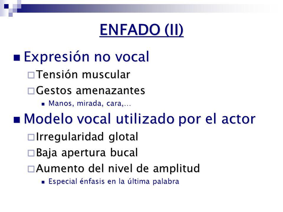 ENFADO (I) VALENCIA ACTIVIDAD PositivoNegativo Pasivo Activo ALEGRÍA SORPRESA ENFADO EN FRÍO NEUTRO TRISTEZA