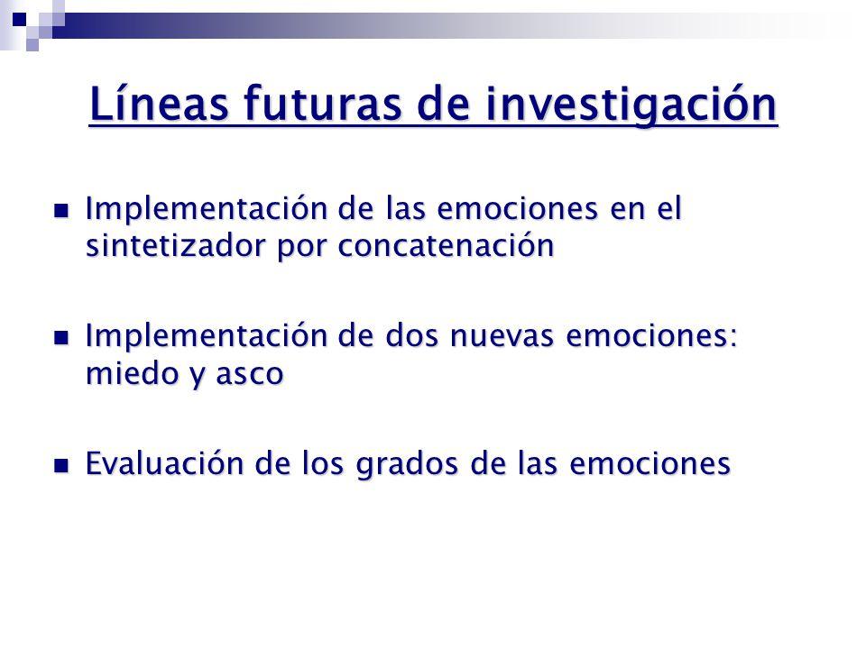 Conclusiones Mejora en la implementación de las emociones TRISTEZA y ALEGRÍA Mejora en la implementación de las emociones TRISTEZA y ALEGRÍA Implementación de las emociones SORPRESA y ENFADO Implementación de las emociones SORPRESA y ENFADO Tasa de reconocimiento: 75 % Tasa de reconocimiento: 75 % Enfado: 43% VAESS 70% Enfado: 43% VAESS 70% Sorpresa: 53% en resíntesis 79% Sorpresa: 53% en resíntesis 79% Alta tasa de identificación de neutra:58,6% VAESS 83,5% Alta tasa de identificación de neutra:58,6% VAESS 83,5% Modificación del BW efectivo Modificación del BW efectivo alegría alegría Estudio de la fuente glotal Estudio de la fuente glotal enfado enfado Incorporación de grados en las emociones Incorporación de grados en las emociones