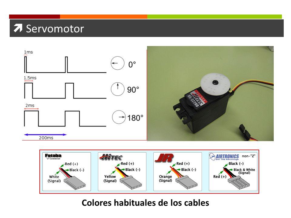 Servomotor Colores habituales de los cables