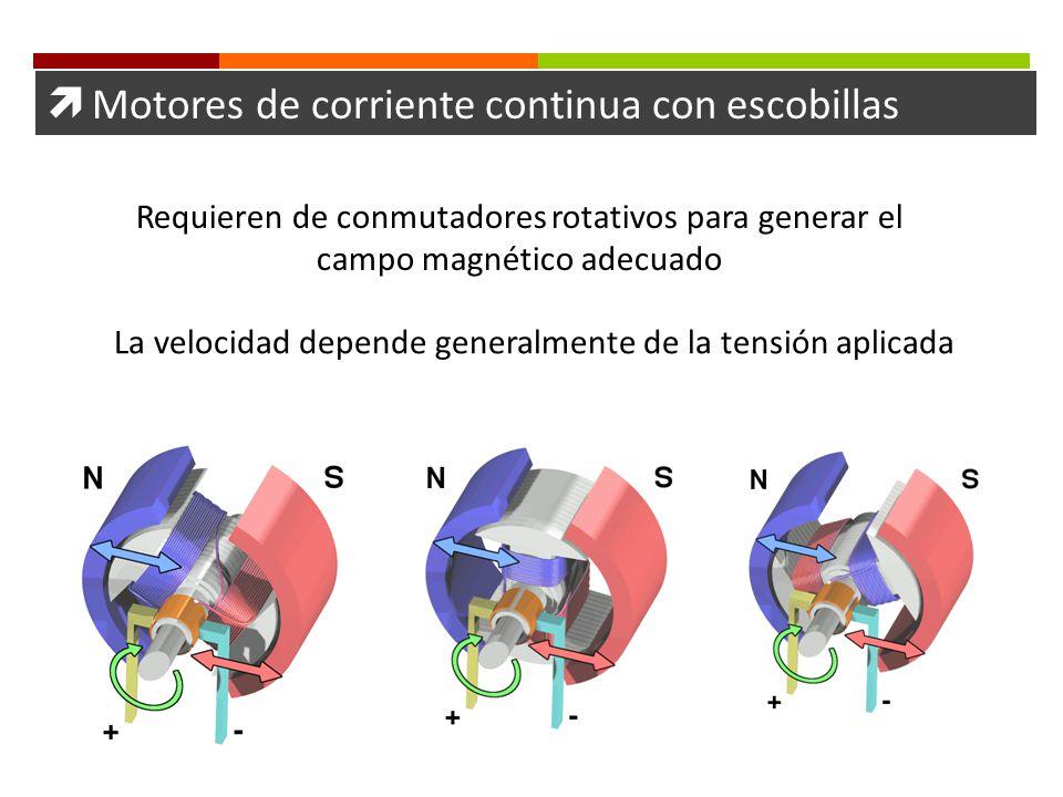Motores de corriente continua con escobillas Requieren de conmutadores rotativos para generar el campo magnético adecuado La velocidad depende general