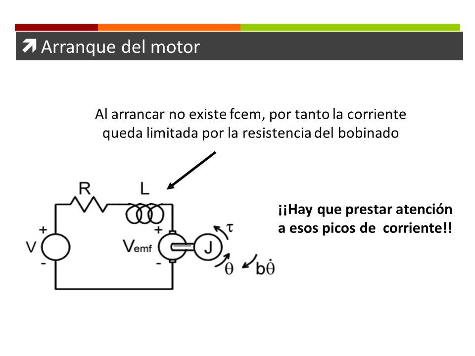Arranque del motor ¡¡Hay que prestar atención a esos picos de corriente!! Al arrancar no existe fcem, por tanto la corriente queda limitada por la res
