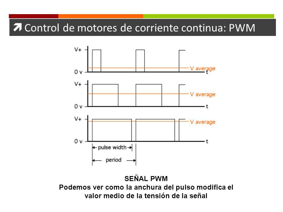 Control de motores de corriente continua: PWM SEÑAL PWM Podemos ver como la anchura del pulso modifica el valor medio de la tensión de la señal