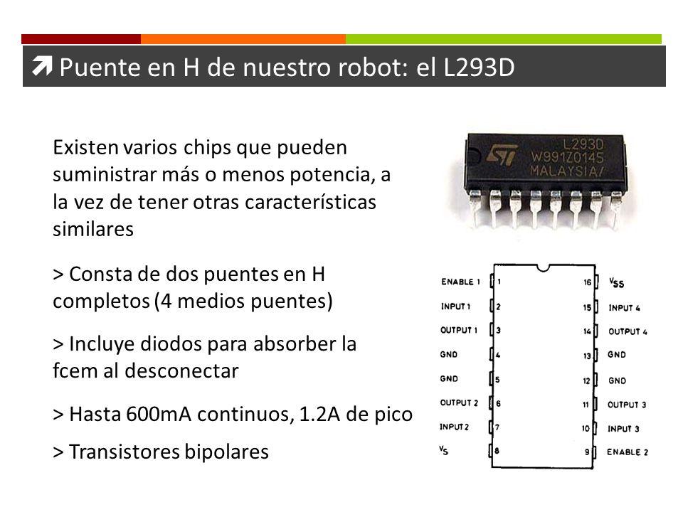 Puente en H de nuestro robot: el L293D > Consta de dos puentes en H completos (4 medios puentes) > Incluye diodos para absorber la fcem al desconectar
