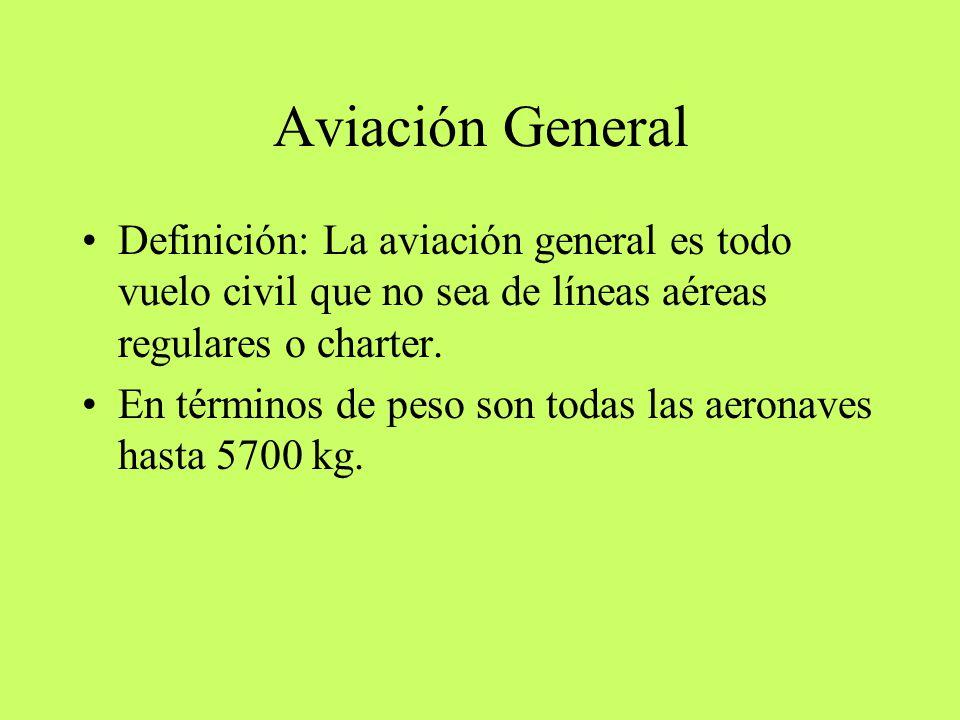 Aviación General Definición: La aviación general es todo vuelo civil que no sea de líneas aéreas regulares o charter.