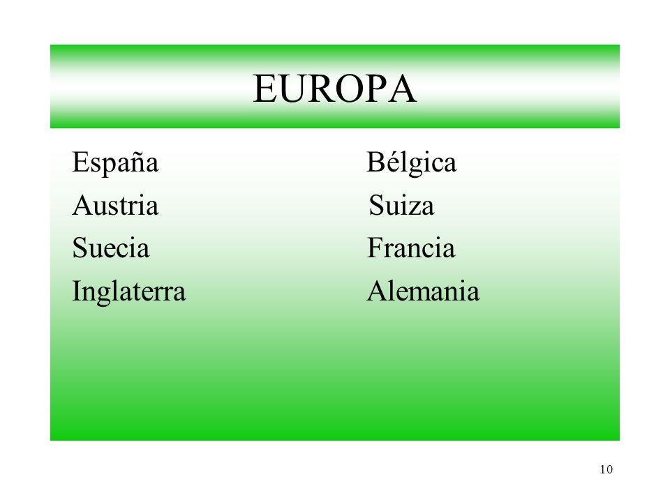 10 EUROPA España Bélgica Austria Suiza Suecia Francia Inglaterra Alemania