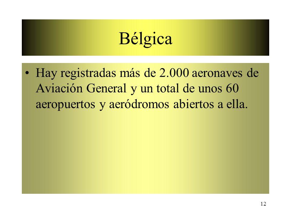12 Bélgica Hay registradas más de 2.000 aeronaves de Aviación General y un total de unos 60 aeropuertos y aeródromos abiertos a ella.