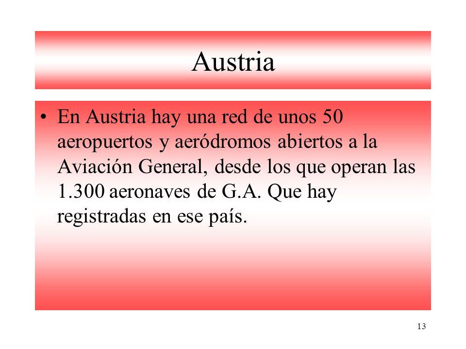 13 Austria En Austria hay una red de unos 50 aeropuertos y aeródromos abiertos a la Aviación General, desde los que operan las 1.300 aeronaves de G.A.