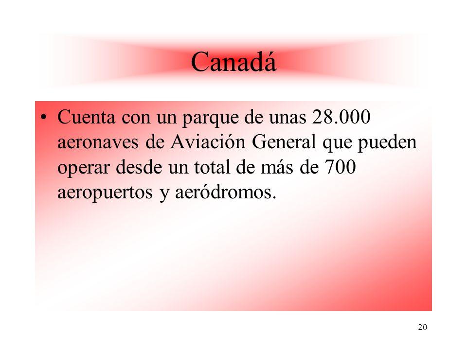 20 Canadá Cuenta con un parque de unas 28.000 aeronaves de Aviación General que pueden operar desde un total de más de 700 aeropuertos y aeródromos.
