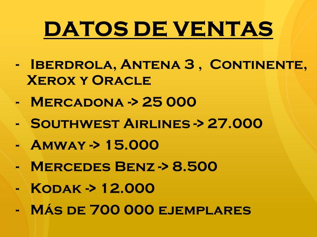 DATOS DE VENTAS - Iberdrola, Antena 3, Continente, Xerox y Oracle - Mercadona -> 25 000 - Southwest Airlines -> 27.000 -Amway -> 15.000 -Mercedes Benz