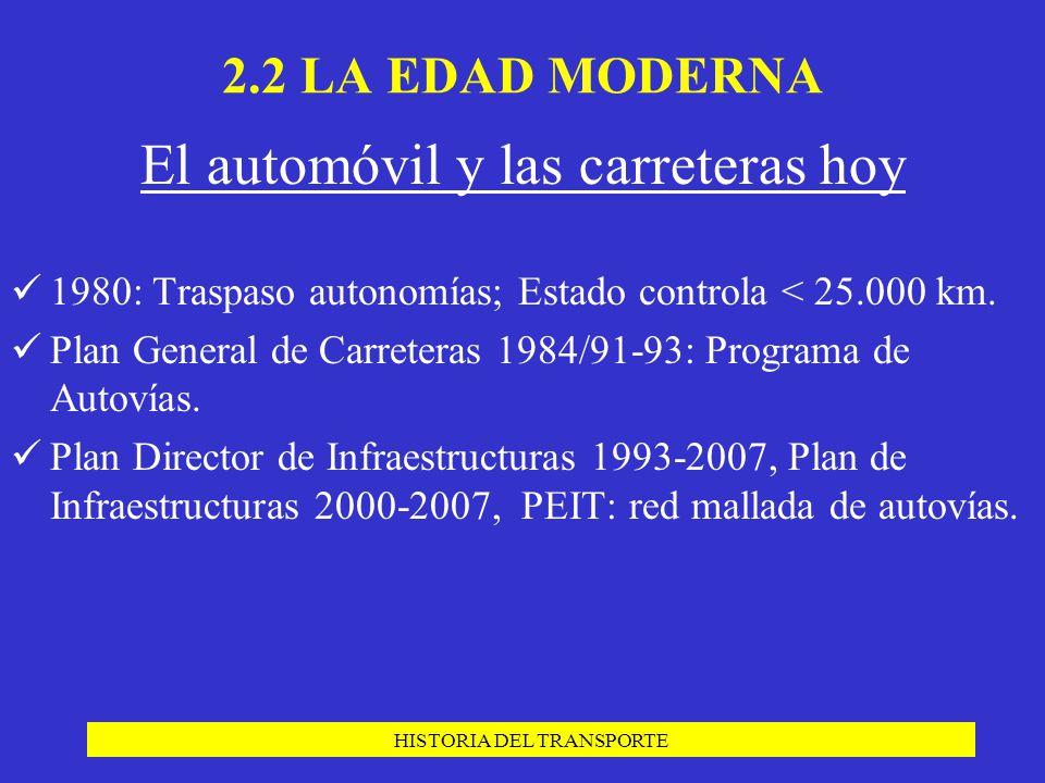 HISTORIA DEL TRANSPORTE El automóvil y las carreteras hoy 1980: Traspaso autonomías; Estado controla < 25.000 km. Plan General de Carreteras 1984/91-9