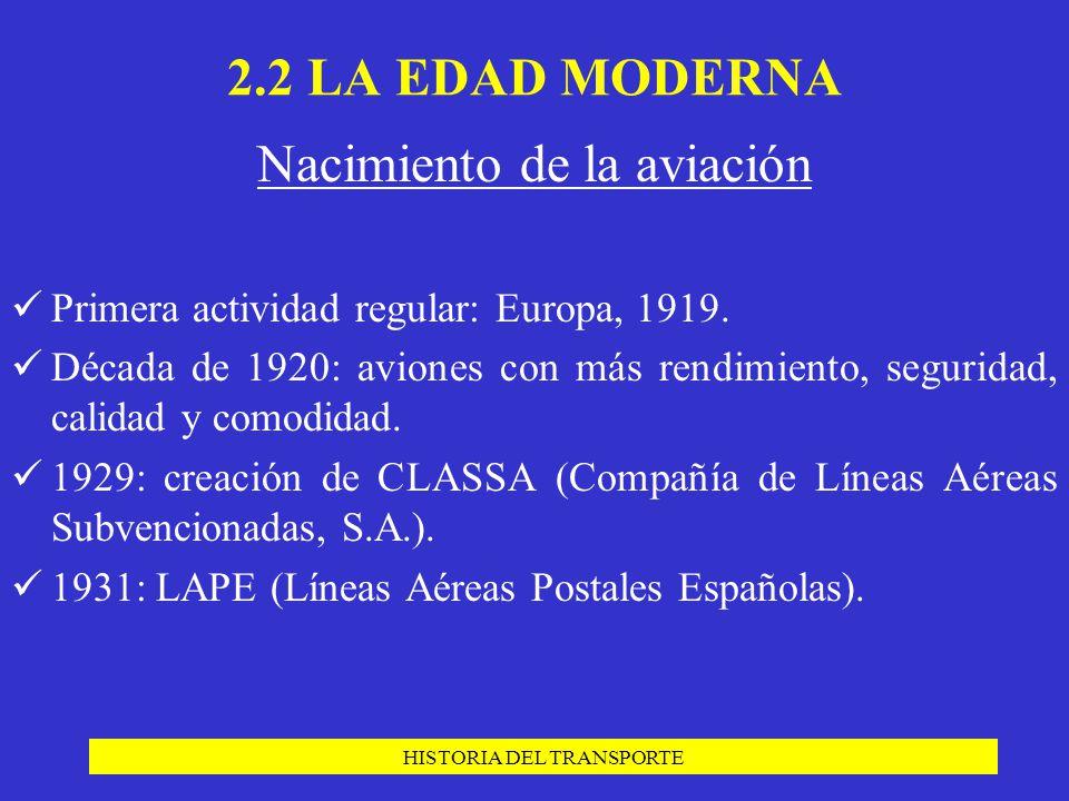 HISTORIA DEL TRANSPORTE Nacimiento de la aviación Primera actividad regular: Europa, 1919. Década de 1920: aviones con más rendimiento, seguridad, cal