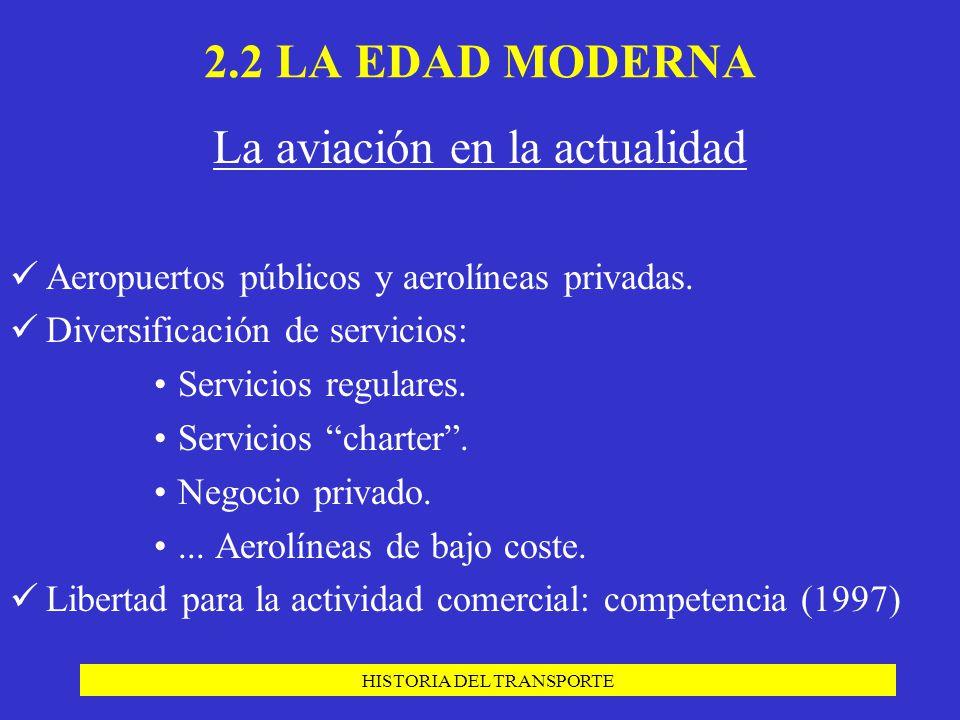 HISTORIA DEL TRANSPORTE La aviación en la actualidad Aeropuertos públicos y aerolíneas privadas. Diversificación de servicios: Servicios regulares. Se