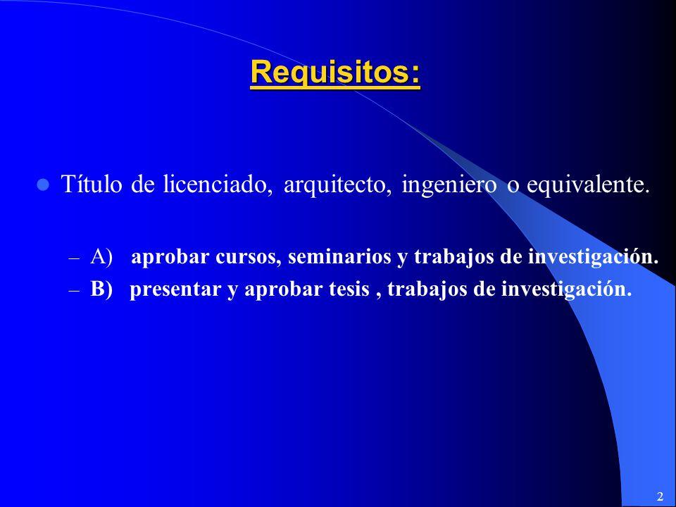 2 Requisitos: Título de licenciado, arquitecto, ingeniero o equivalente.