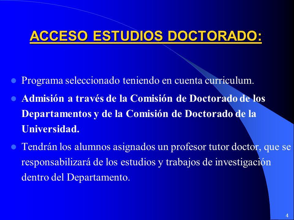 4 ACCESO ESTUDIOS DOCTORADO: Programa seleccionado teniendo en cuenta curriculum.