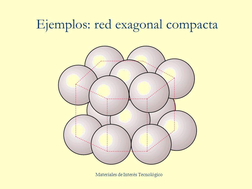 Materiales de Interés Tecnológico Ejemplos: red exagonal compacta