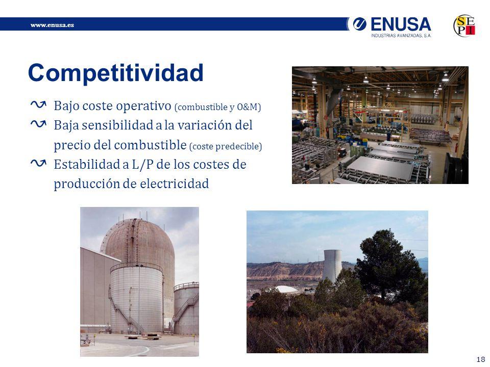 www.enusa.es 18 Bajo coste operativo (combustible y O&M) Baja sensibilidad a la variación del precio del combustible (coste predecible) Estabilidad a L/P de los costes de producción de electricidad Competitividad