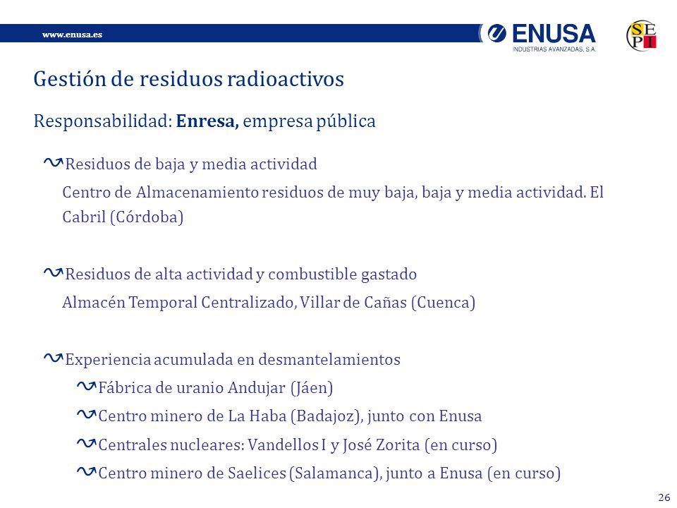 www.enusa.es 26 Gestión de residuos radioactivos Responsabilidad: Enresa, empresa pública Residuos de baja y media actividad Centro de Almacenamiento residuos de muy baja, baja y media actividad.