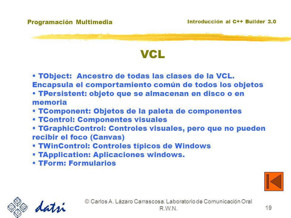 Programación Multimedia Introducción al C++ Builder 3.0 © Carlos A. Lázaro Carrascosa. Laboratorio de Comunicación Oral R.W.N. 19 TObject: Ancestro de