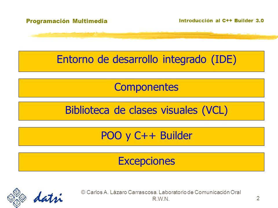 Programación Multimedia Introducción al C++ Builder 3.0 © Carlos A. Lázaro Carrascosa. Laboratorio de Comunicación Oral R.W.N. 2 zBiblioteca de clases