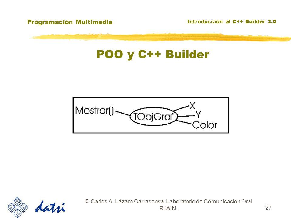 Programación Multimedia Introducción al C++ Builder 3.0 © Carlos A. Lázaro Carrascosa. Laboratorio de Comunicación Oral R.W.N. 27 POO y C++ Builder