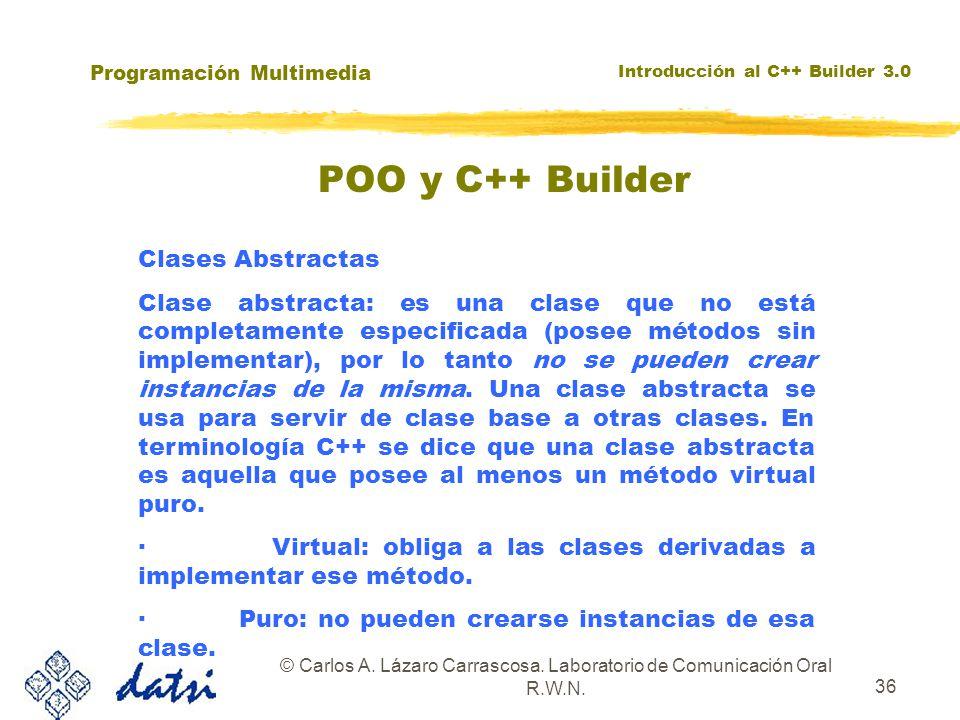 Programación Multimedia Introducción al C++ Builder 3.0 © Carlos A. Lázaro Carrascosa. Laboratorio de Comunicación Oral R.W.N. 36 Clases Abstractas Cl