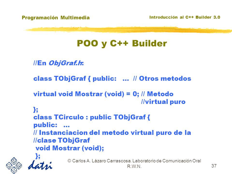 Programación Multimedia Introducción al C++ Builder 3.0 © Carlos A. Lázaro Carrascosa. Laboratorio de Comunicación Oral R.W.N. 37 //En ObjGraf.h: clas