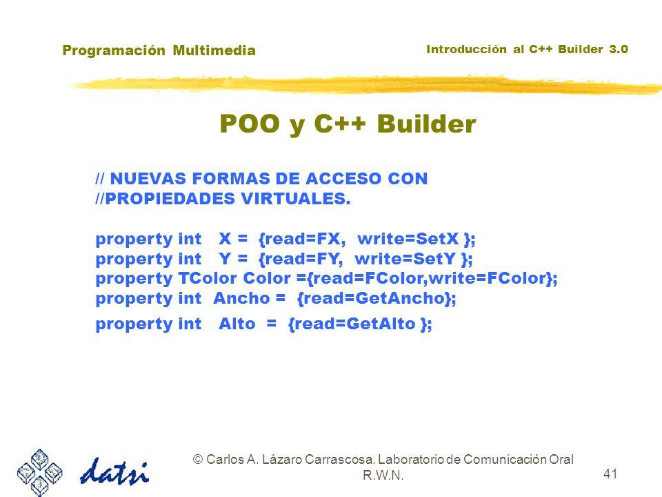 Programación Multimedia Introducción al C++ Builder 3.0 © Carlos A. Lázaro Carrascosa. Laboratorio de Comunicación Oral R.W.N. 41 // NUEVAS FORMAS DE