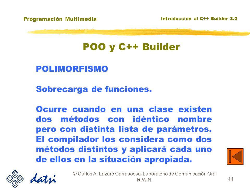 Programación Multimedia Introducción al C++ Builder 3.0 © Carlos A. Lázaro Carrascosa. Laboratorio de Comunicación Oral R.W.N. 44 POLIMORFISMO Sobreca