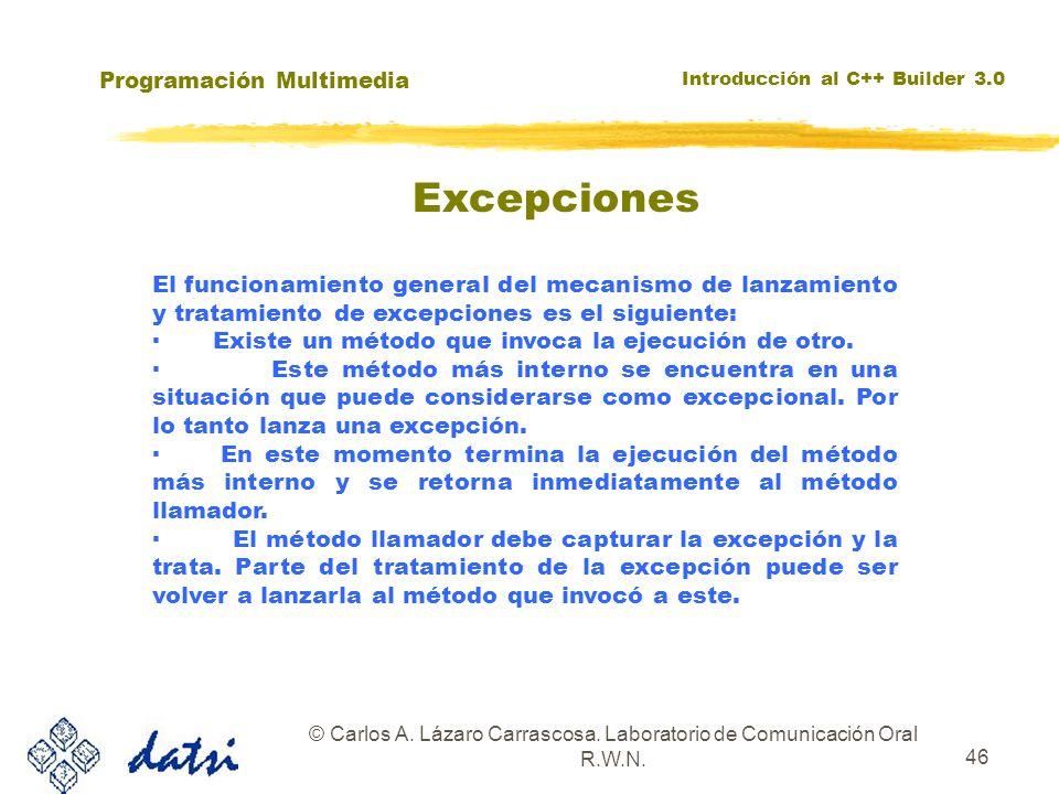 Programación Multimedia Introducción al C++ Builder 3.0 © Carlos A. Lázaro Carrascosa. Laboratorio de Comunicación Oral R.W.N. 46 El funcionamiento ge