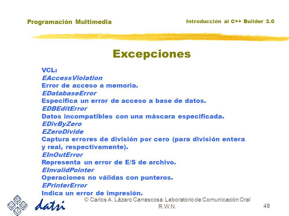 Programación Multimedia Introducción al C++ Builder 3.0 © Carlos A. Lázaro Carrascosa. Laboratorio de Comunicación Oral R.W.N. 49 VCL: EAccessViolatio