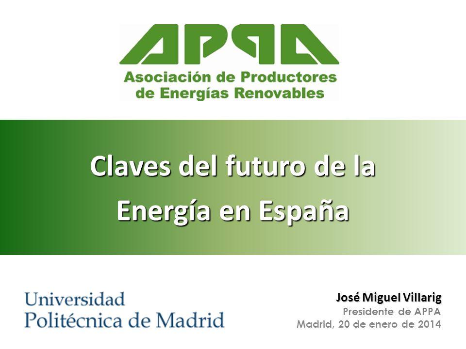 Energía para medios de comunicación José Miguel Villarig Presidente de APPA Madrid, 20 de enero de 2014 Claves del futuro de la Energía en España