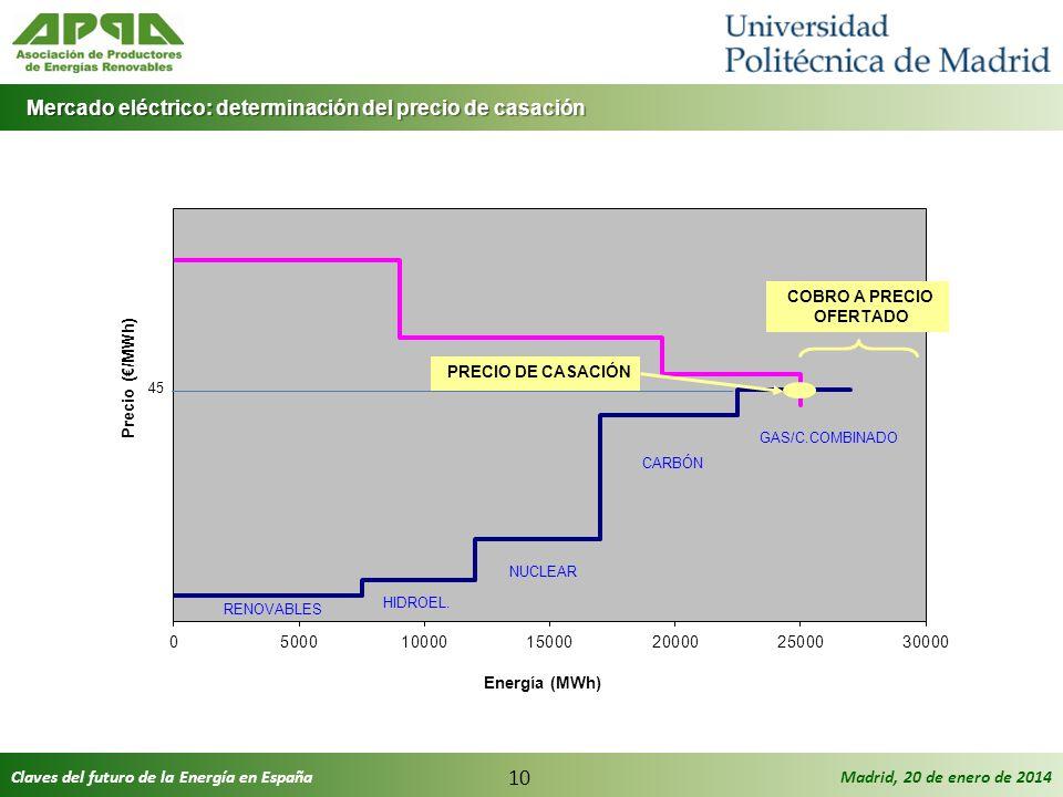 Claves del futuro de la Energía en EspañaMadrid, 20 de enero de 2014 10 Mercado eléctrico: determinación del precio de casación Mercado eléctrico: det