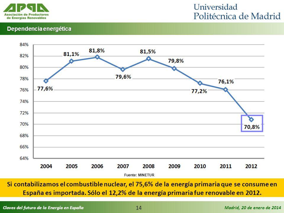 Claves del futuro de la Energía en EspañaMadrid, 20 de enero de 2014 14 Dependencia energética Dependencia energética Si contabilizamos el combustible