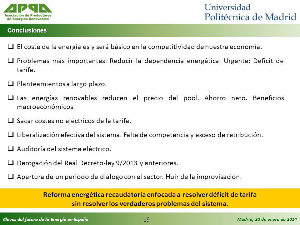 Claves del futuro de la Energía en EspañaMadrid, 20 de enero de 2014 19 Conclusiones Conclusiones El coste de la energía es y será básico en la compet