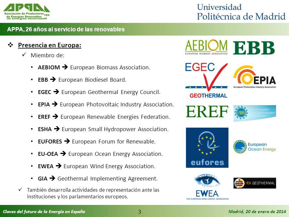 Claves del futuro de la Energía en EspañaMadrid, 20 de enero de 2014 3 Presencia en Europa: Miembro de: AEBIOM European Biomass Association. EBB Europ